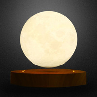 2018 Brand New 10cm 3D Magnetic Levitating Floating Moon Lamp With Wooden Base Romantic Night Lamp