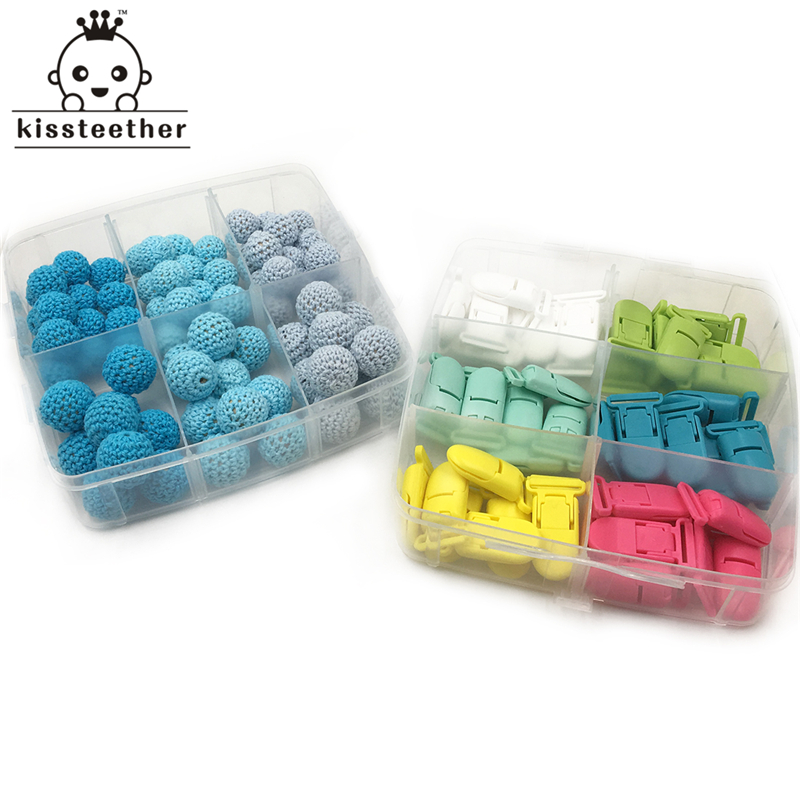 DIY Nursing Jewelry 2 Boxed Wooden Crochet Beads Mixed Color Plastic Safety Pacifier Clip Creative Freedom Baby Teether Set