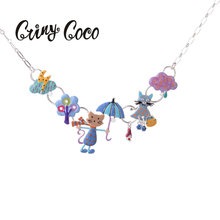 Cring CoCo Enamel Cute Animal Love Cat Pendant & Necklace for Women Long Thin Chain Jewelry Accessories Choker Womens
