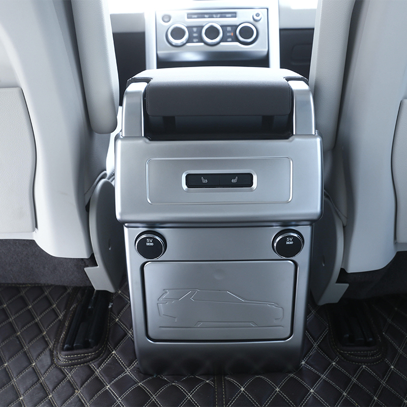 New For Land Rover Discovery 5 HSE LR5 2017 Car-Styling ABS Matte Chrome Armrest Box Rear AC Outlet Vent Cover Trim Accessories for land rover discovery 4 lr4 accessories abs dark wood grain center console ac outlet cover trim sticker for lhd 2pcs set