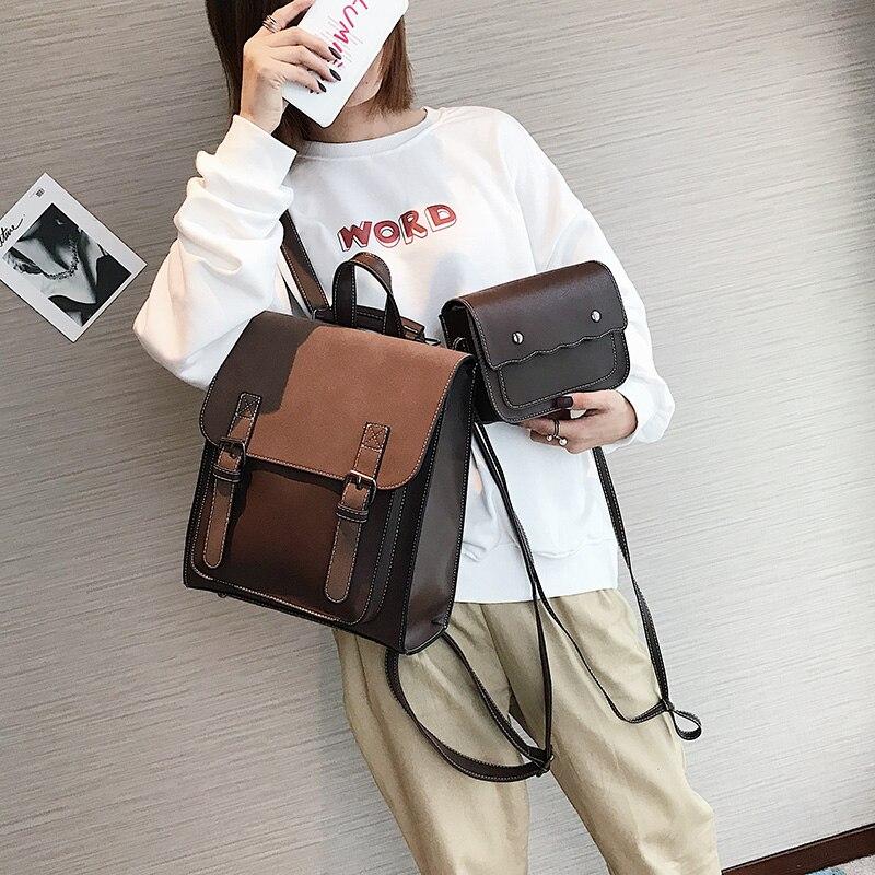 HTB15 XqXJfvK1RjSspoq6zfNpXai Fashion 2 PCS/SET Leather Women Backpacks for Teenagers female Back Pack Large Capacity Pu Travelling Bags Vintage school bag