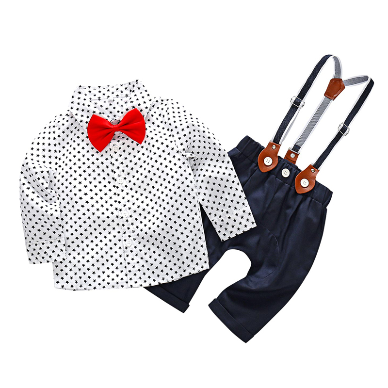 Baby Boy Gentleman Formal Wear Long Sleeve Outfits Rompers For 6-18 Months Star Printed Shirt with Ties Suspender Pants 3Pcs/set