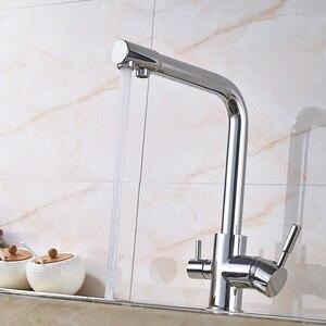 Image 5 - יוקרה Chrome פליז טהור מים מטבח ברז כפול ידית חמה וקר לשתיית מים 3 דרך מסנן מטבח מיקסר ברזים