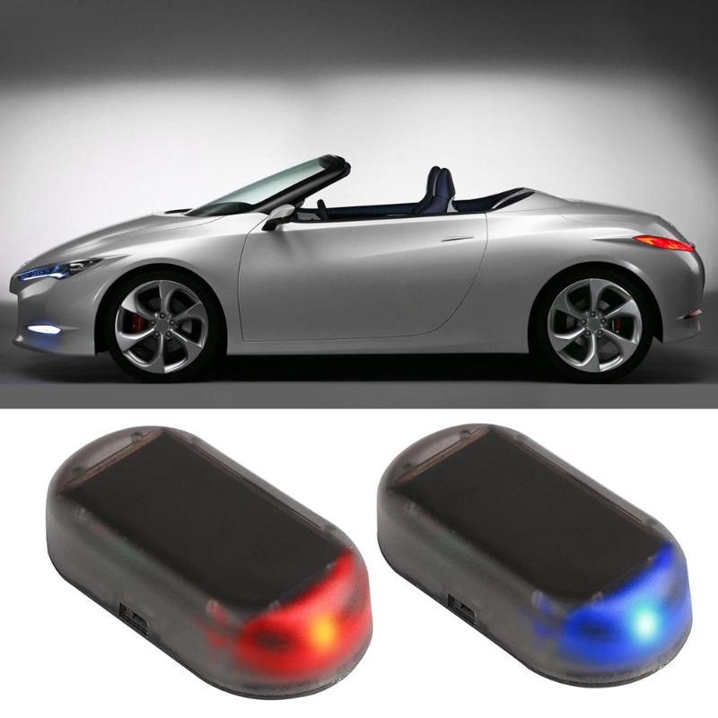 ABS 12 V Car LED Alarm Lights Simulate Imitation Fake Solar Security System Warning Flash Anti-Theft Lamp Universal 2 Colors