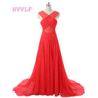 Red 2017 Formal Celebrity Dresses A Line V Neck See Through Open Back Chiffon Long Evening