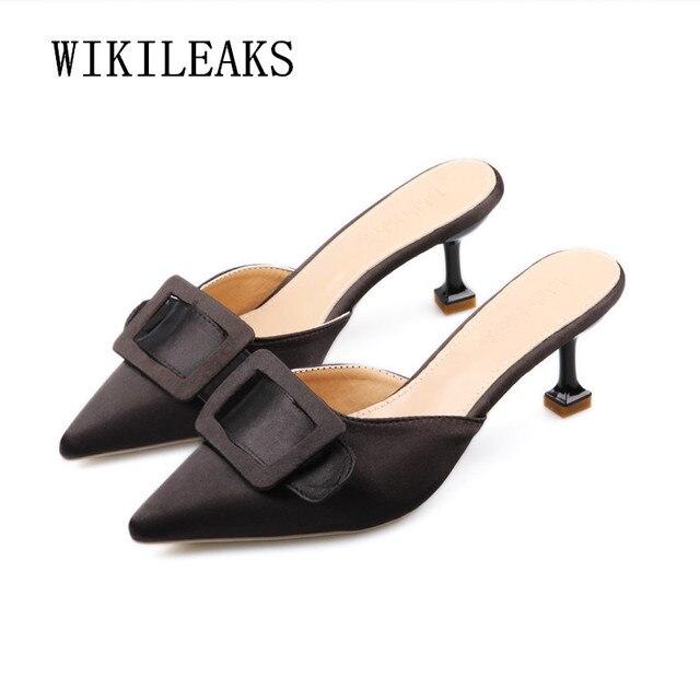 450c3595b Bombas Mulheres Sexy Sapatos de Salto Alto Mulas Apontou Saltos Do Dedo Do  Pé Senhoras Fivela