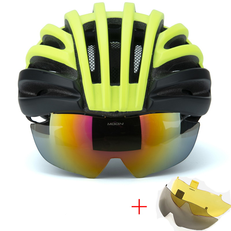 Bicycle Helmet with 3 Lens EPS Insect Net Road MTB Bike Windproof Lenses Integrally molded Helmet Cycling Casco Ciclismo