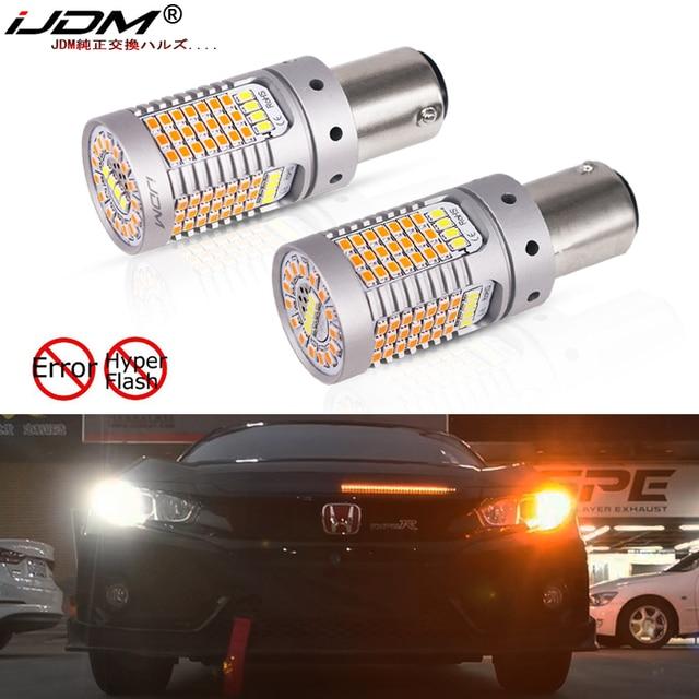iJDM CANbus No Hyper Flash 1157 LED P21/5W BAY15d White/Amber LED Bulbs For 13 17 Accord Sedan Daytime Running/Turn Signal Light