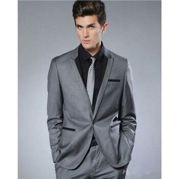 2017 Fashion Small Collar Grey Groom Tuxedo men wedding suit Man Business Party Suits Mens Daily Wear Blazer (Suit+Pants+tie)