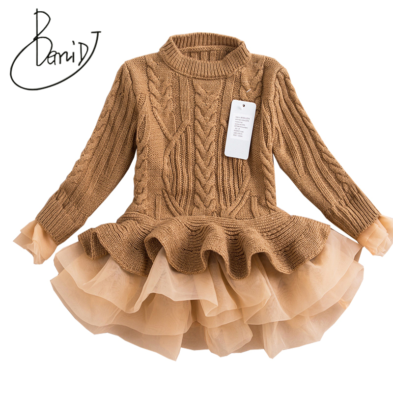 Fashion Autumn 2018 Thick Warm Girl Dresses Princess Knitted Winter Party Kids Sweater TuTu Dress Girl Clothes Children Clothing girl sweater dress superfine wool knitted dress 2015 o neck pocket long sweater tassels christmas children clothing kids dresses