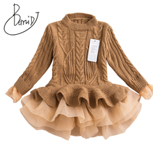 Winter Autumn Girl Dress Children Clothes Kids Dresses Girls Party Dress Long Sleeve Knitted Sweater Toddler Girl Dress Clothing floral sweater dress teenage baby girl winter autumn spring dress with long sleeve 2018 children s knitted dress for girls