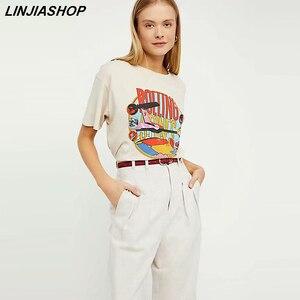 Vintage Beige Rolling Stones Summer Tshirt Rock Cartoon O Neck Cotton T-Shirt Girls Streetwear Designer Style New Arrivals 2019(China)