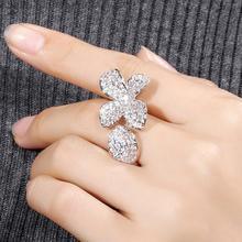 imixlot Dream Carnival Trendy Four Petal Flower Ring for Women New Design Adjustable Silver Rose Gold Rings Female Jewelry