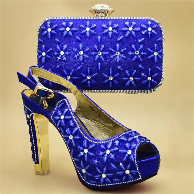 Fashion Italian Shoes with Matching Bags High Quality Shoes and Bag Set African Sets 2019 Nigerian Wome High Heels Wedding Shoes