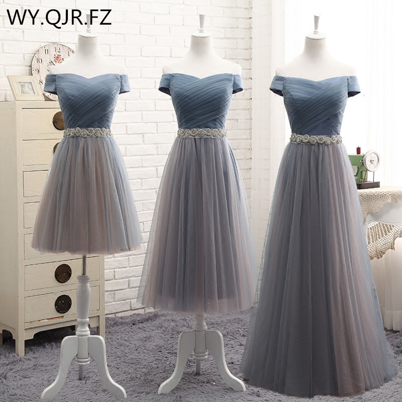 YYMY01Y#Off Shoulder Lace Up Resin Drill Ornament Short Middle Length Three Styles Bridesmaid Dresses Wedding Party Prom Dress