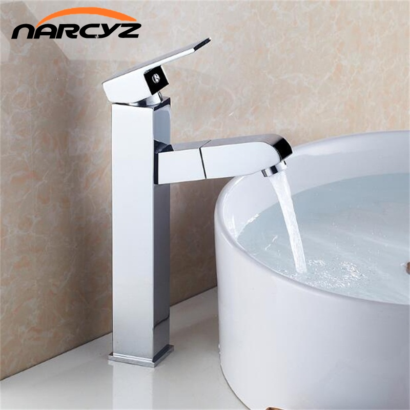 Pull out Chrome basin sink tap bathroom faucet pull down sprayer basin tap crane shower head chrome pull down basin mixer XT518 fie new shower faucet set bathroom faucet chrome finish mixer tap handheld shower basin faucet