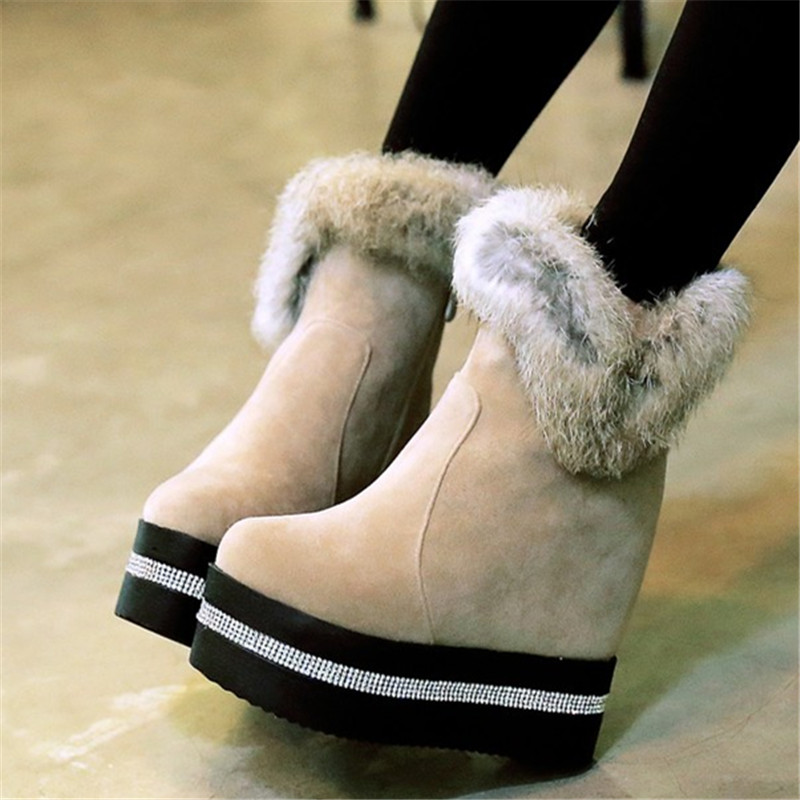 Size 34-40 Winter Autumn Crystal Women Ankle Boots Height Increase Platform Real Fur High heeled Casual Shoes warm Snow Boots
