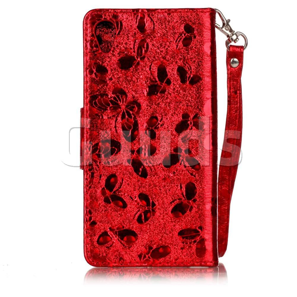 Luxury Laser Butterfly Optical Maser Leather Wallet Case for Sony Xperia X Performance - Red