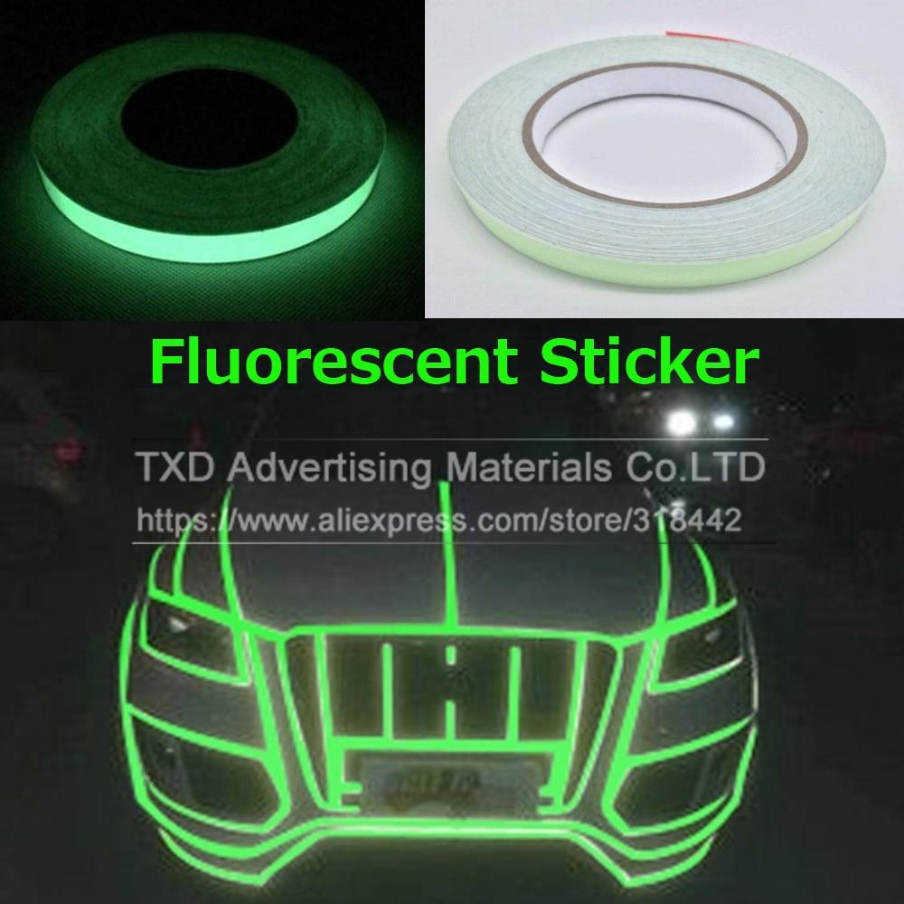 Siparnuo 100pcs car styling vinyl film strip truck warning 15cmx41m green fluorescence sticker car luminous tape reflective strip decal decoration reflecting glow in dark aloadofball Gallery