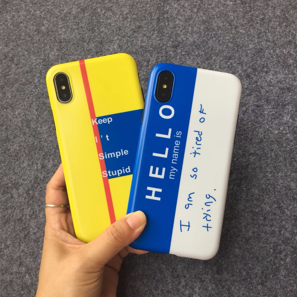 Kuutti Squishy Soft PU Yellow Blue Quote Hello Printing Cute Phone Cases for iPhone 6s Plus Cases for iPhone 7 8 Plus X Covers
