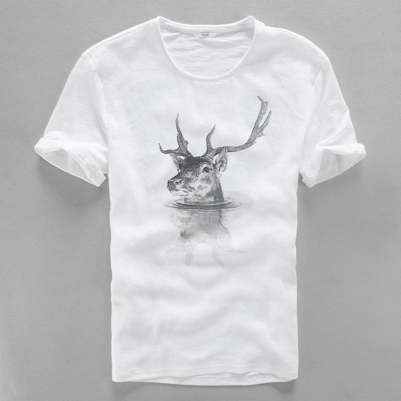 2017 Ketibaan baru kreatif Jepun linen t-shirt lelaki musim panas - Pakaian lelaki - Foto 1