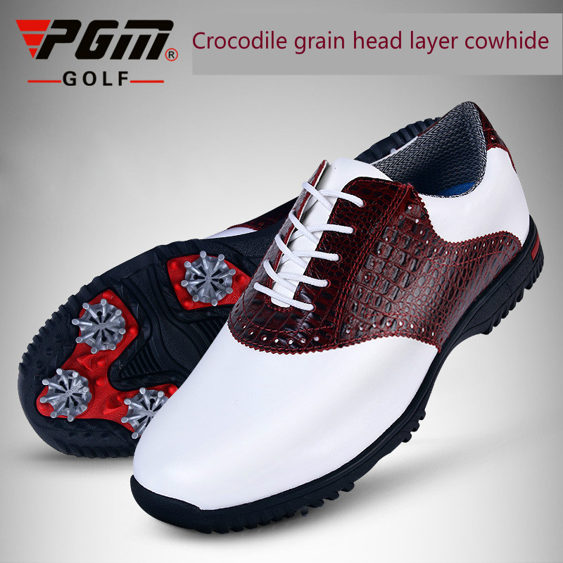 PGM Men Golf Shoes Genuine Leather Breathable Ultra Light Brown Waterproof Sneakers Sport Golf Shoes Mens Zapatos Charol Hombre 2018 real zapatos de golf para hombre authentic japanese golf shoes male breathable sneakers slip outdoor men hot sale top16001
