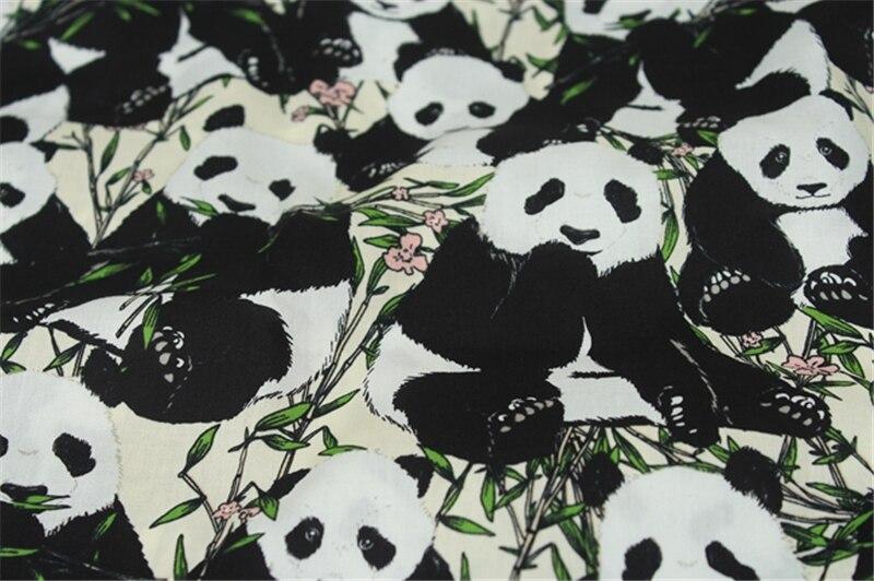 100 Coton Tissu Beau Dessin Animé Panda Affiches Noir Et