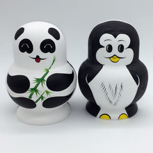 10 Layers Nesting Dolls Wooden Cute Panda Penguin Hand painted Russian Doll Matryoshka Toys Home Decoration