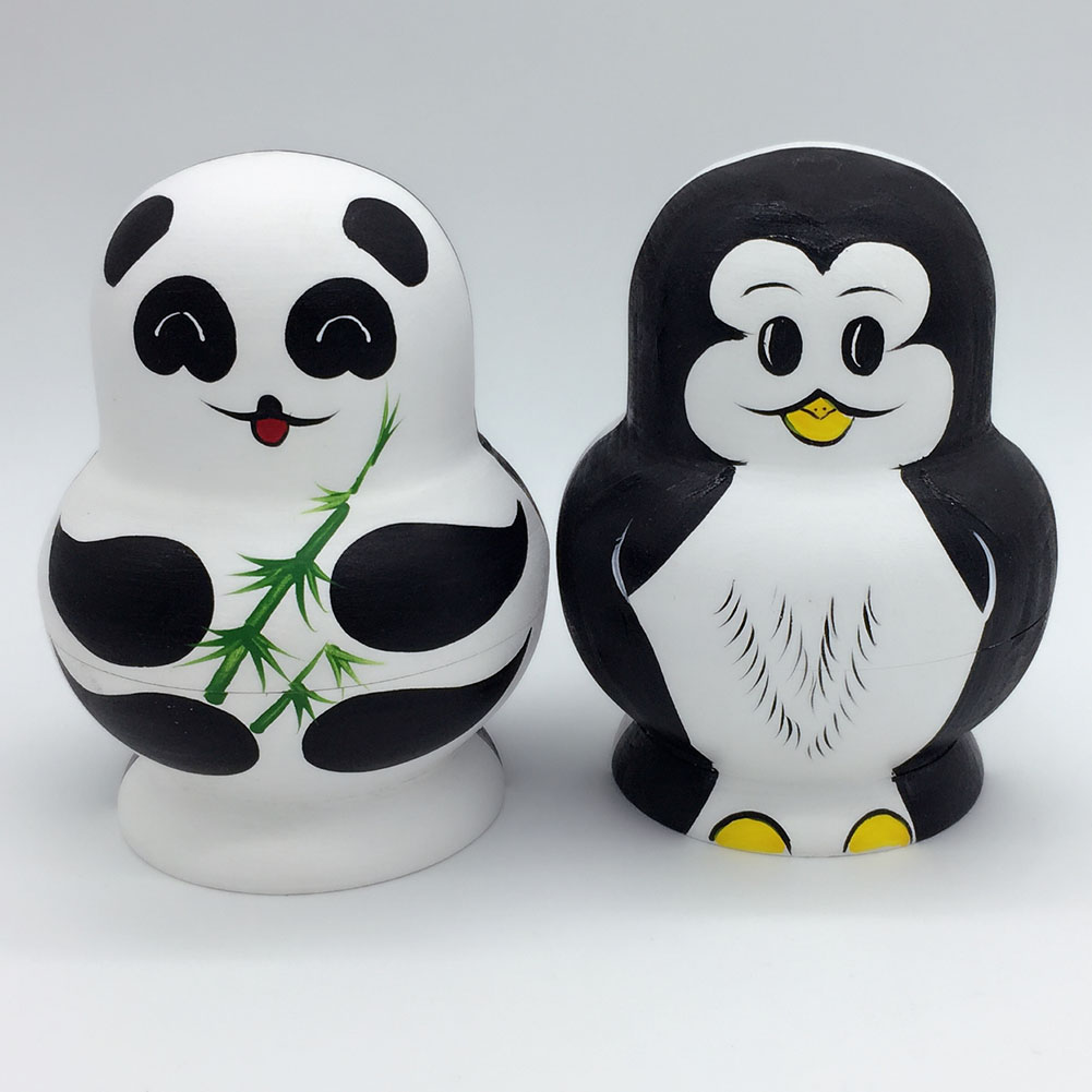 10 Layers Nesting Dolls Wooden Cute Panda Penguin Hand painted Russian Doll Matryoshka font b Toys