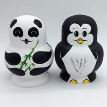 10 Layers Nesting Dolls Wooden Cute Panda Penguin Hand painted Russian Doll Matryoshka font b Toys