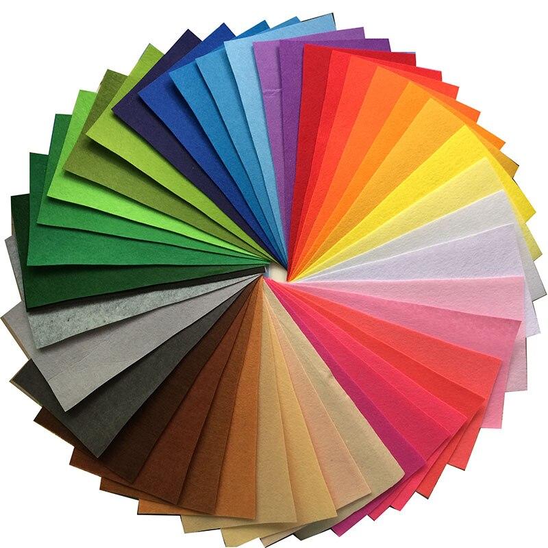 40 цветов/лот 1 мм толщиной полиэстер Нетканые Войлок Tissu ткань пошива DIY лоскутное ручной работы Feltro vilt лист 15X15 см