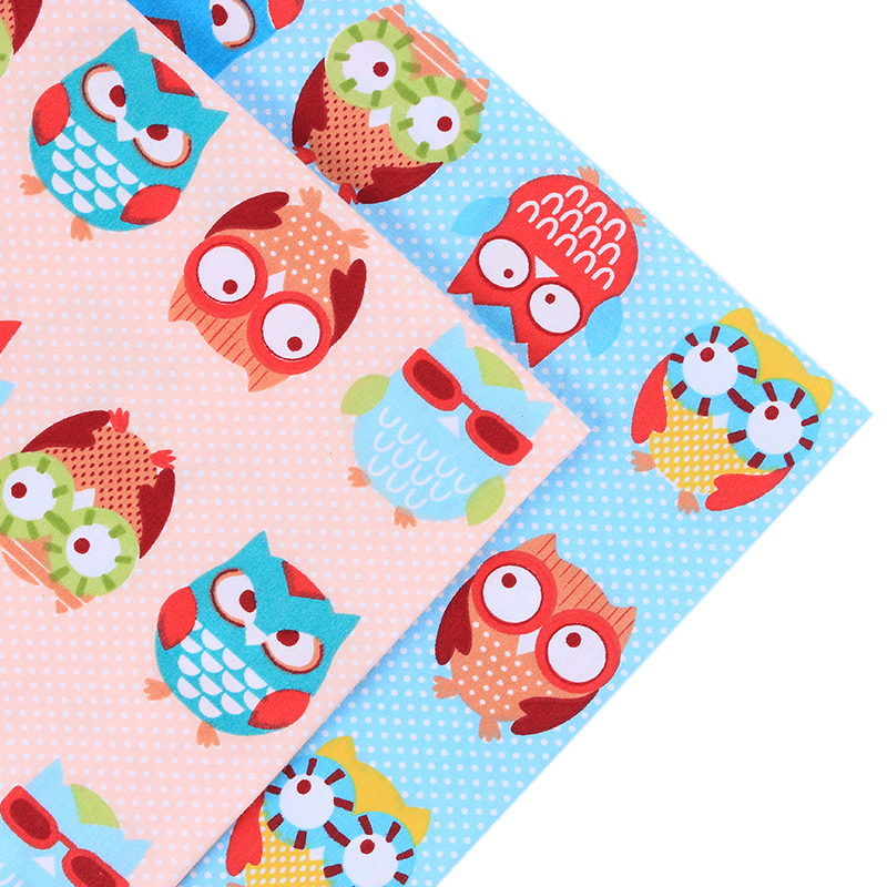 2pcs lot 40 50cm cotton patchwork fabric owl pattern quilts tecido sewing bed - Lot de tissu patchwork ...