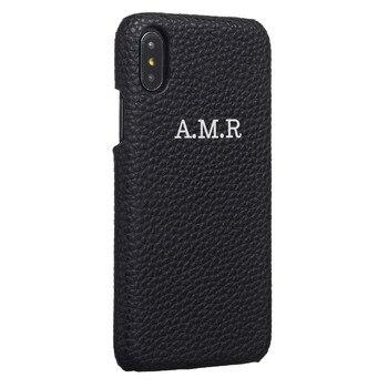 ce8c6a05a75 Personalización personalizado de cuero de grano de guijarro lujo oro plata  nombre inicial para iPhone X XR XS Max 6 S 7 7 funda para teléfono Plus 8  Plus
