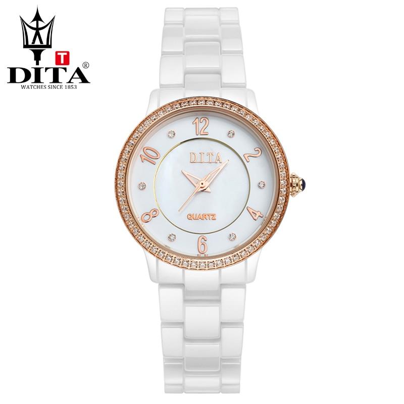 все цены на DITA Ceramic lady watch Fashion Casual Luxury wristwatch Women quartz analog watch Rose Gold & Silver Crystal Rhinestone онлайн