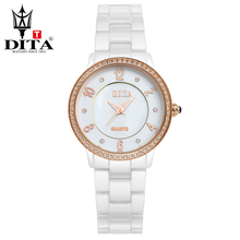 DITA Ceramic lady watch Fashion Casual Luxury wristwatch Women quartz analog watch Rose Gold & Silver Crystal Rhinestone
