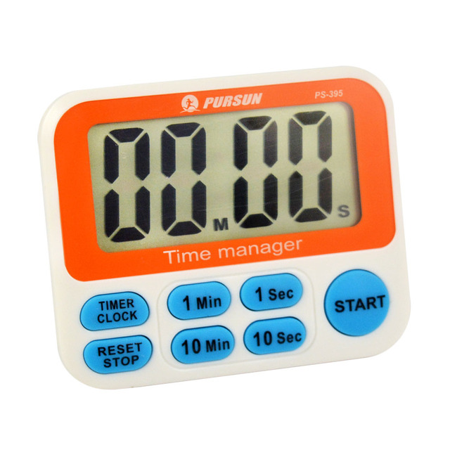 Timer CountDown/Up 10 Min 10 Sec Fast Setting Digital LCD 12 hours - set timer to 1 minute