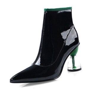 Image 2 - Fedonas nova moda feminina sapatos outono inverno tornozelo botas de couro genuíno botas chelsea apontou toe saltos altos sapatos de festa mulher