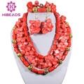 Notável Vertentes Rosa Contas de Coral Conjunto de Jóias de Luxo Moda Africano Conjuntos de Jóias Fit Casamento/Aniversário CNR103