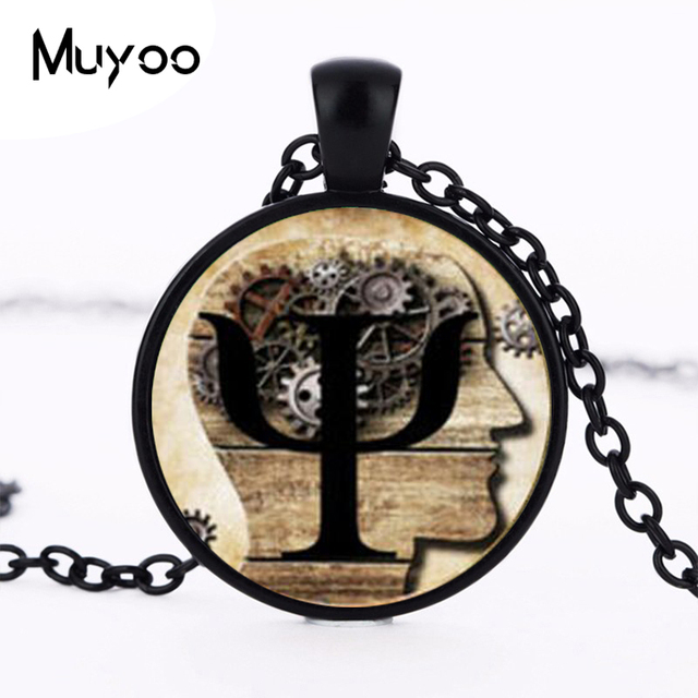 Psi Symbol Necklace Psychology Pendant Glass Dome Pendant Necklace