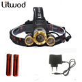 Z50 Led Headlight Zoom headlamp 7000LM Rechargeable Headlamp Flashlight Head Torch XM-L T6+2Q5 headlaight+2batteries+ AC charger