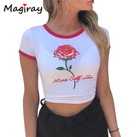 Magiray Harajuku Letters Rose Print T Shirt Women Short Sleeve Crop Tops T Shirts Summer 2017
