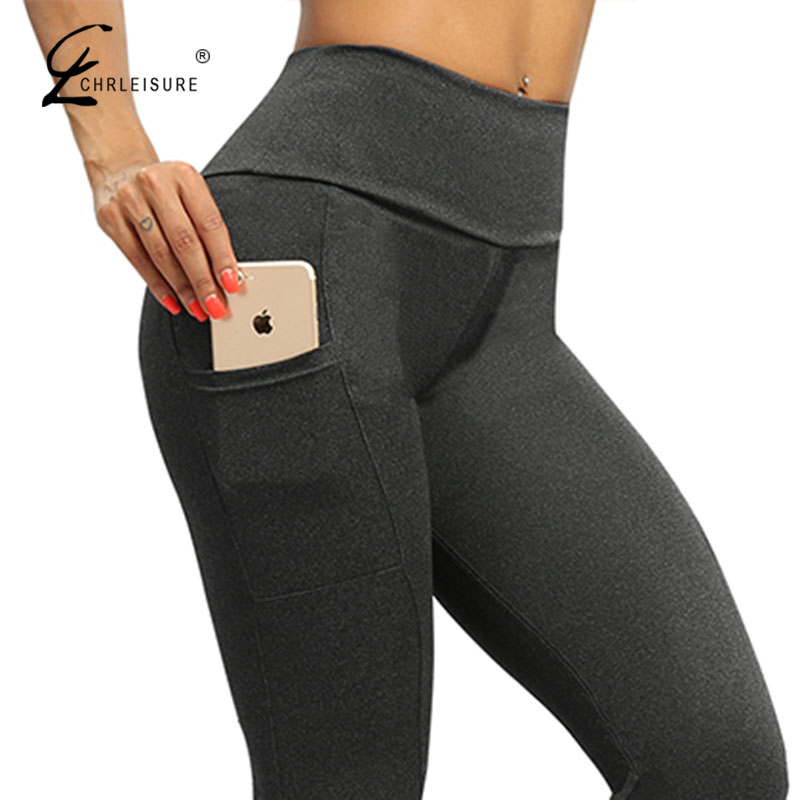 CHRLEISURE sólido Fitness Leggings Push Up mujeres entrenamiento Jeggings cintura alta bolsillo Leggings Mujer Pantalones elásticos arrugas 6 colores