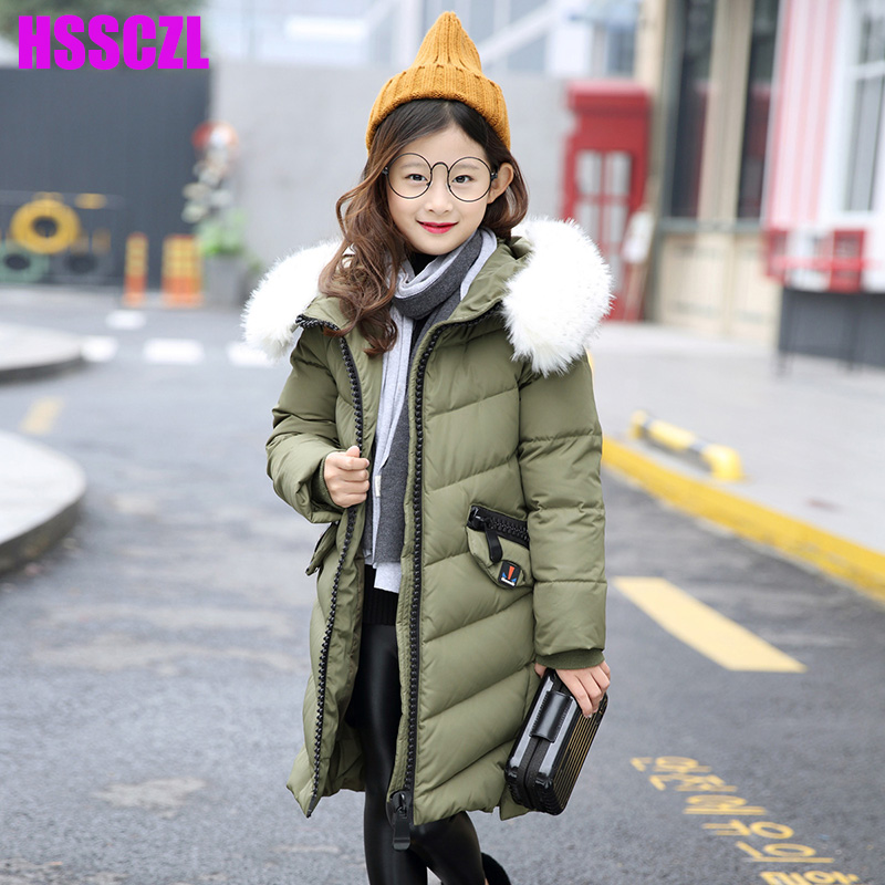 HSSCZL Girls Down Jacket Winter Thick 2017 Brand Hooded Girl Long Coats Big Fur Collar Children jacket Overcoat outerwear parkas 2017 new kids long parkas for girls fur hooded coat winter warm down jacket children outerwear infants thick overcoat 3t 14t