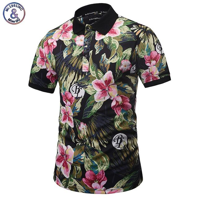 Mr.1991inc harajuku estilo polo camisas de los hombres de verano tops imprimir brautiful flores gráfico 3d camisas de polo