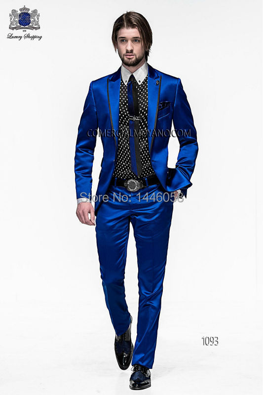 7ddc91b5e225 2016 Men Slim Fit Suits Groom Tuxedos Royal Blue Best Men Suit Prom Tuxedos  For Men Wedding Suits With Pants Groomsman-in Suits from Men's Clothing &  ...