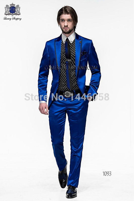 2018 Men Dress Slim Fit Suits Groom Tuxedos Royal Blue Satin Best Men Suit Prom Tuxedos For Men Wedding Suits With Pants
