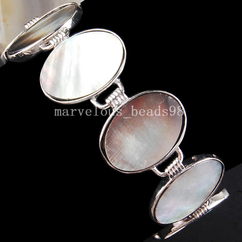"Free Shipping Beautful Jewelry Mother of pearl Shell Oval Art Women Men Bead Bracelet  7~8.5"" G6492"