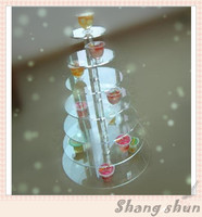 Hot 7 Tier Round Shape Acrylic Crystal Clear Cupcake Stand for Wedding Birthday Party Candy Display