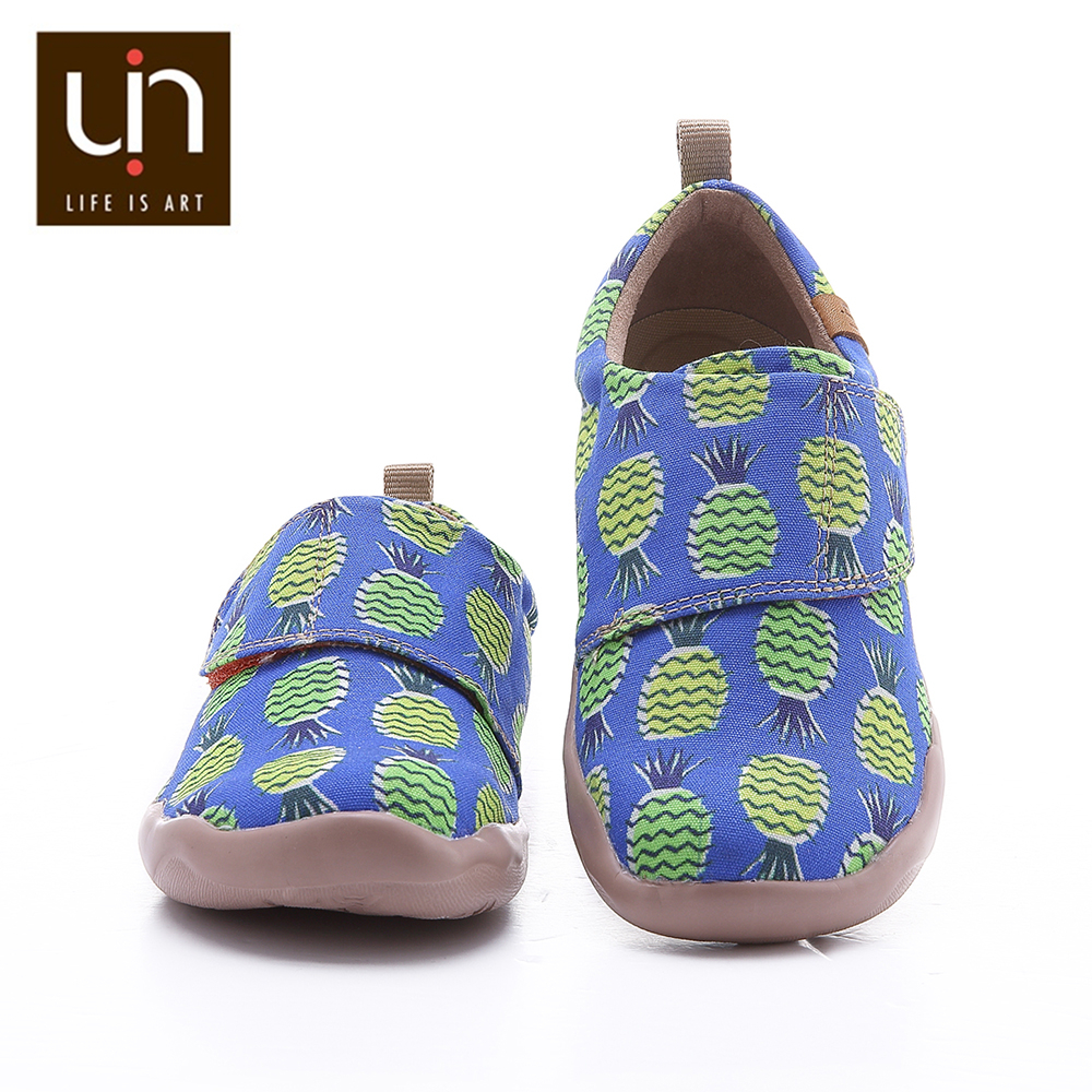 UIN Sweet & Jackfruit Design Casual Shoes for Big Kids Hook & Loop Soft Flats Boys/Girls Comfort Outdoor Sneakers Children Shoes