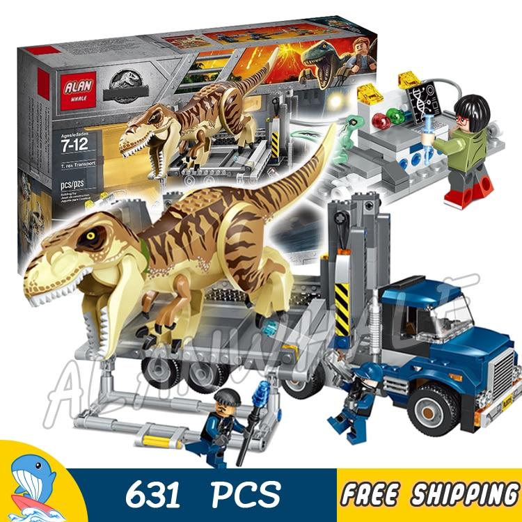 631 шт. мир Юрского периода T. Rex грузового транспорта динозавр тираннозавр рекс модель строительные блоки игрушки Кирпичи совместимы с lego